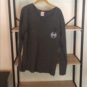 Gray PINK Long Sleeve Shirt